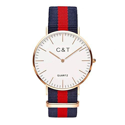 C T Watch Armbanduhr CT 6 Gold Nylon Nato Strap Marine Blau Rot