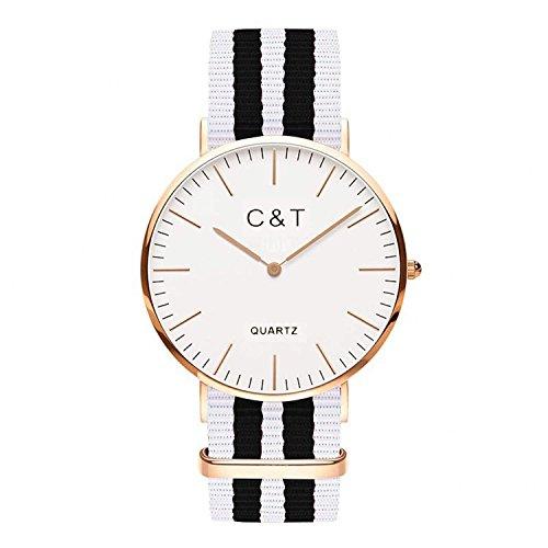 C T Watch Armbanduhr C5T Gold Nylon Nato Strap Weiss Schwarz