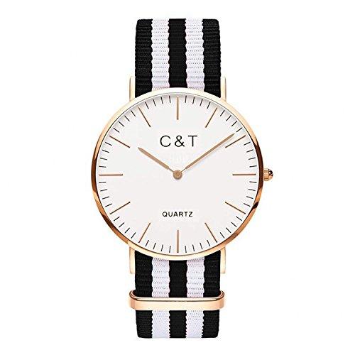 C T Watch Armbanduhr CT 8 Gold Nylon Nato Strap Schwarz Weiss
