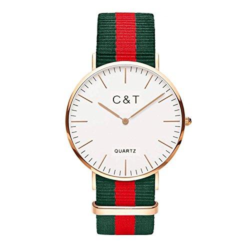 C T Watch CT 7 Armbanduhr Gold Nylon Nato Strap Rot Gruen