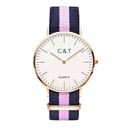 C T Watch Damen Armbanduhr Analog Quarz Nylon