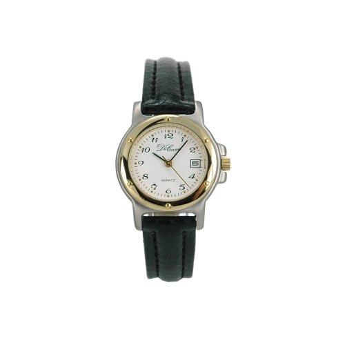 DeCave 007145213 Edelstahl Damenarmbanduhr bicolor Lederband Miyota 1L12 5 ATM