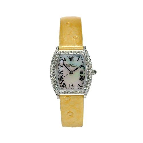 DeCave 103024013 Messing Tonneau ca 24x24 mm Similisteine Lederband gelb Schweizer Quarzwerk Ronda 763 3 ATM