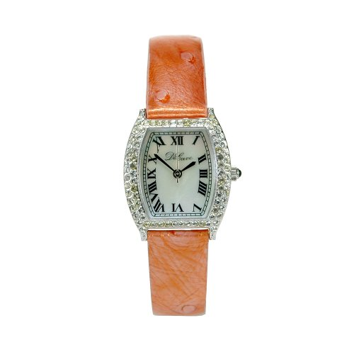 DeCave 103024015 Messing Tonneau ca 24x24 mm Similisteine Lederband orange Schweizer Quarzwerk Ronda 763 3 ATM
