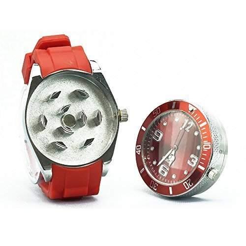 NEU zeigt Grinder Armbanduhr versteckt magnetisch Gras Grinder Diamant Zaehne 6 Farben by Lizzy rot