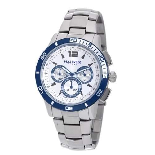 Haurex Italy Herrenuhr Premiere Chronograph Silver Dial Watch #0A355USS