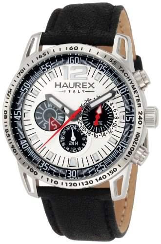 Haurex Italy Herren-Armbanduhr XL Talento Analog Leder 1A367USN