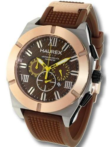 Haurex Italy Herrenuhr Challenger Brown Dial Watch #3D305UCM