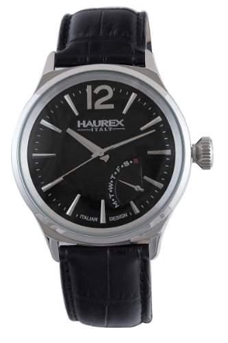 Haurex Italy Herrenuhr Elegant Grand Class Black Dial Watch #6A341UN1