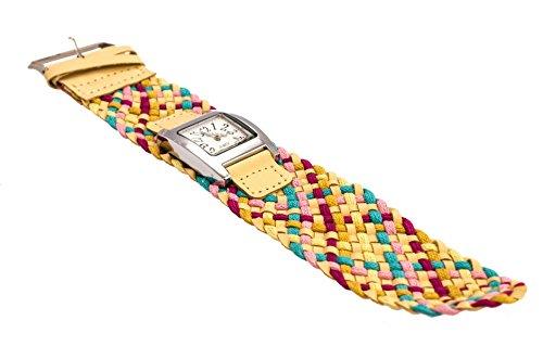 Armbanduhr AU03 mit buntem geflochtenem Armband und Ziffernblatt von Quarz Modeschmuck von Kobert Goods