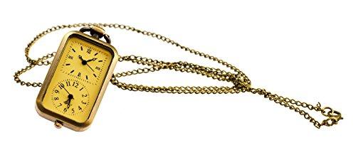 Doppel Taschenuhr TU39 mit zwei Ziffernblaettern und langer Kette in Altgoldoptik Modeschmuck von Kobert Goods