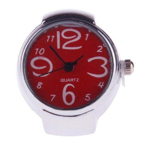 Ringuhr Fingeruhr Uhr fuer den Finger in Silber und Rot Schriftfeld in 6 verschiedenen Farben erhaeltlich des Zifferblattes Quartzuhr von Kobert Goods