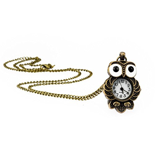 TU 70 Eulen Uhr mit langer HalsketteTaschenuhr in Altgold Modeschmuck von Kobert Goods
