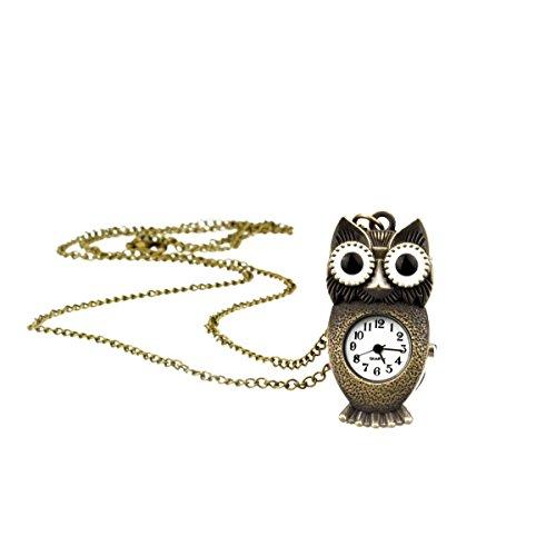 TU 69 Eulen Uhr mit langer HalsketteTaschenuhr in Altgold Modeschmuck von Kobert Goods