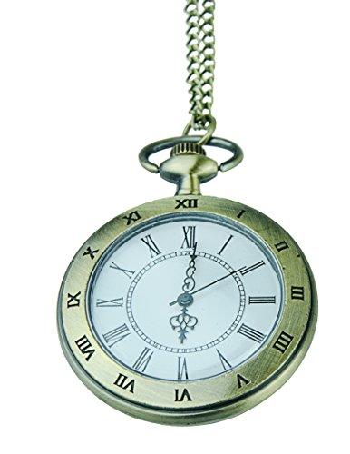 Uhr Kette Taschenuhr TU18 Bronze in Vintage Design mit roemischen Zahlen Umhaengeuhr von Kobert Goods