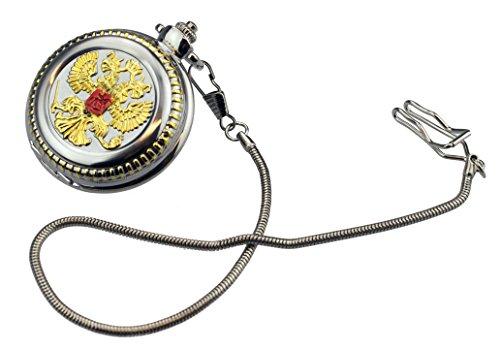 Taschenuhr TU 23 mit russischem Wappen rund mit langer Kette in Altgoldoptik Modeschmuck VERSANDKOSTENFREI LIEFERUNG