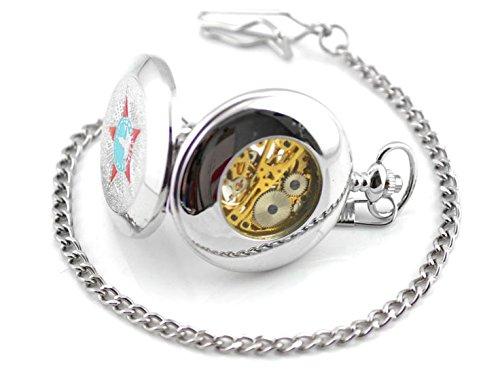 Taschenuhr mit CCCP Stern TU72 Kette und Klipp fuer alle Taschen in Silber Sowjetunion Vintage roter Stern Modeschmuck von Kobert Goods