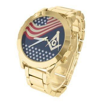 14 K Gold Ton rund American Flagge Freimaurer Design Zifferblatt Stahl Quarz