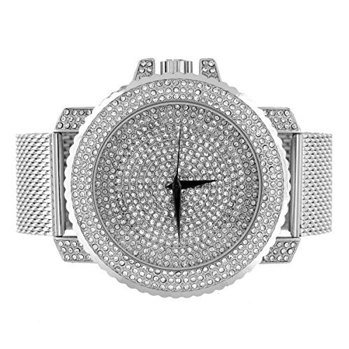 Weiss Mesh Armband Armbanduhr Iced Out Face Fall Analog simulierten Diamanten Jojino