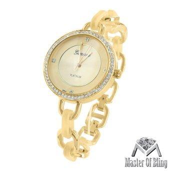 Damen Armband Band Armbanduhr Geneva 14 K Solid Gold Teller Designer Platinum Vintage
