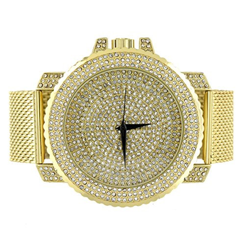 Mesh Armband Armbanduhr Gold Finish simulierten Diamanten Iced Out Joe Rodeo Jojo Look