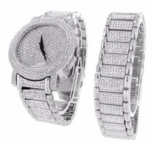 Uhr und Armband Geschenk Set fuer Maenner 14 K Weiss Gold Finish HipHop Iced Out Lab Diamanten Analog NEU