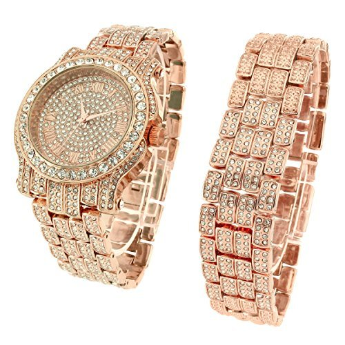 Rose Gold Ton Armband Set Iced Out simulierten Diamanten Joe Rodeo Jojino
