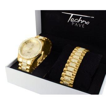 Armband Combo Kuenstlicher Diamanten Stahl Rueckseite 14 K Gelb Gold Finish