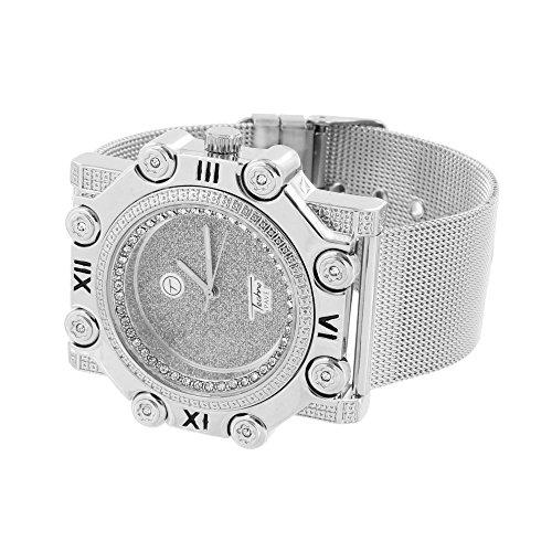 Mesh Weiss Band Armbanduhr Designer Custom Simuliert Diamant roemischen Stunde Mark