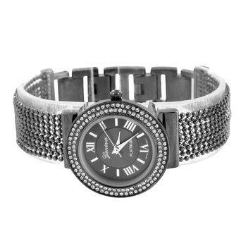 Bead String Band Armbanduhr Lab Create Diamant Schwarz PVD Roemisches Zifferblatt rund Face Damen