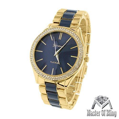 Dark Blue Dial Armbanduhr Damen MK Stil Geneva Parker Gold Ton Acetat Analog