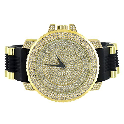 JoJo Jojino Herren Armbanduhr Gold Finish Iced Out Luenette Zifferblatt simulierten Diamanten Analog
