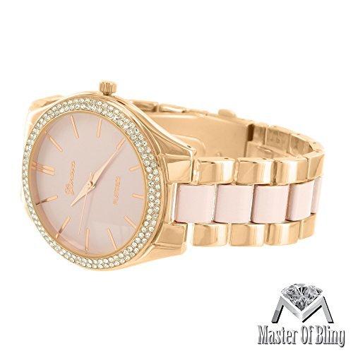 Rose Finish Geneva Armbanduhr Parkers Rose Gold Ton rosa Zifferblatt simulierten Diamanten New
