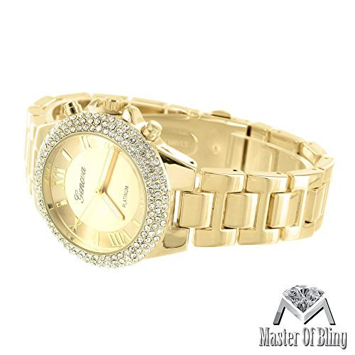 Damen Gold Tone Armbanduhr Platinum Edelstahl Rueckseite Lab Diamanten Geneva weiblich