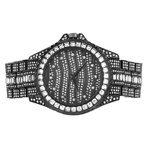 Herren Schwarz Finish Armbanduhr Prinzessin Rundschliff simulierten Diamanten Custom Jojo Jojino