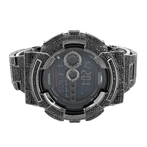 G Shock Herren Armbanduhr Schwarz simulierten Diamanten Iced Out GD100 Digital Custom