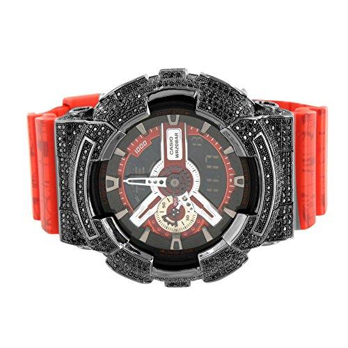 Herren G Shock Armbanduhr Schwarz simulierten Diamanten Rot Gummi Silikon Gurt NEU