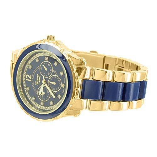 Gold Blau Ton Armbanduhr MK Style Marke neue Edelstahl Fall Damen Fashion