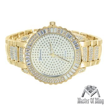 14 K Gold Ton rund Face Baguette Lab Diamant Geneva Joe Rodeo Jojino Look