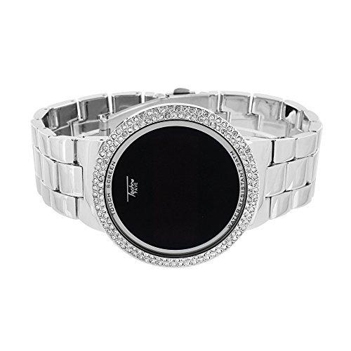 Touch Bildschirm Uhr Iced Out Techno Pave Smart Watch Digital simulierten Diamanten