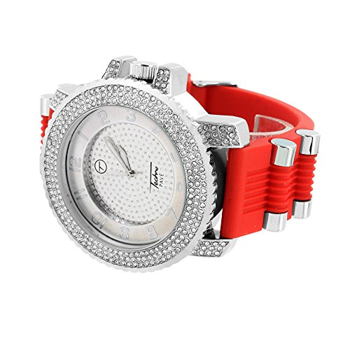 Rot Bullet Design Armbanduhr Weiss simulierten Diamanten Joe Rodeo Jojo Jojino Techno