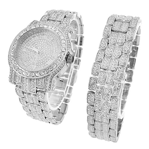 Custom Armbanduhr Armband Set Iced Out Kunstdiamant Analog 45 mm Jojo Look