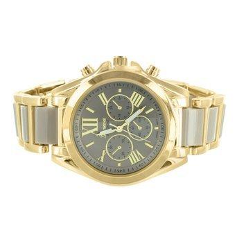 Damen MK Stil Armbanduhr Gold Ton Space Grau Roemische Zahl Zifferblatt Face Geneva Luxus
