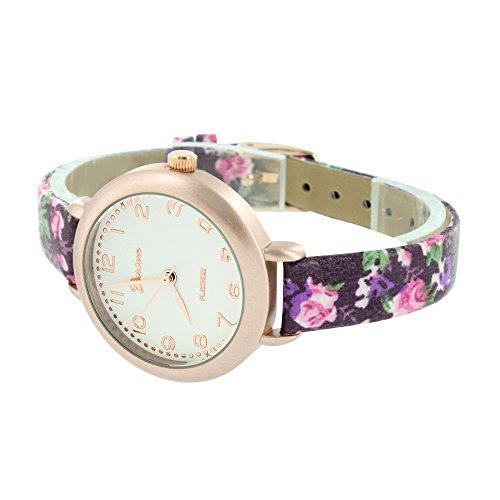Damen Rose Gold Watch Damen Maedchen Lila Blumen Design Band Jojo Jojino New