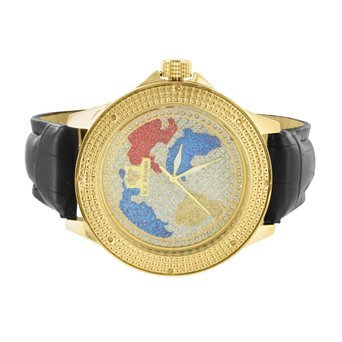 Herren Diamant Luenette Uhr Weltkarte Zifferblatt 14 K Ton 2 GRATIS Bands Stahl Rueckseite