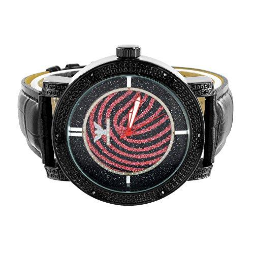Herren Diamant Uhr Schwarz PVD Wasser resistent schwarz rot Zifferblatt Jojo Jojino New