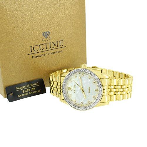 Echten Diamanten Icetime Mop Weiss Zifferblatt Jubilee Design Band Gold Finish