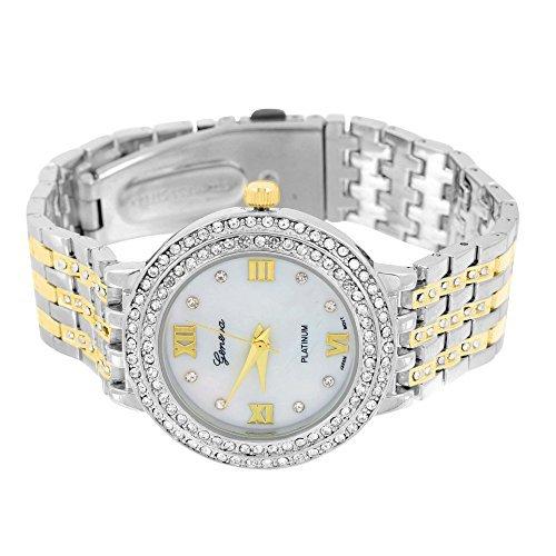 2 Ton Elegantes Damen Geneva Uhr fuer Verkauf Gold Weiss Zifferblatt NEU
