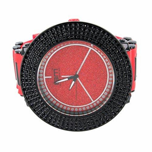 Exklusive rot Armbanduhr fuer Maenner Silikon Band mit Lab Diamant Schwarz Luenette Big Face Verkauf