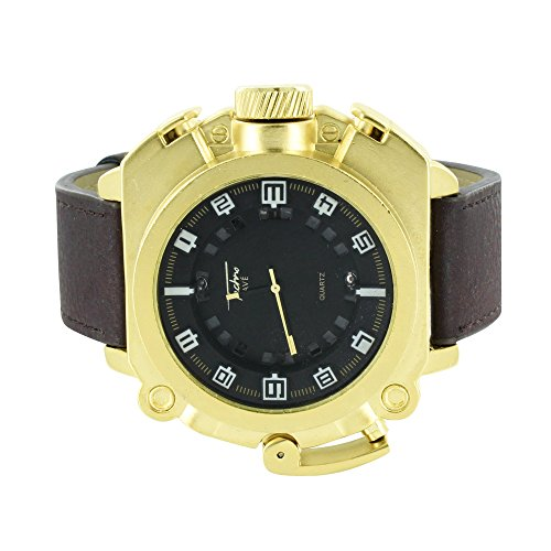 Gold Finish Herren asymmetrische Pave Techno Luenette Joe Rodeo Jojo Design 56 mm